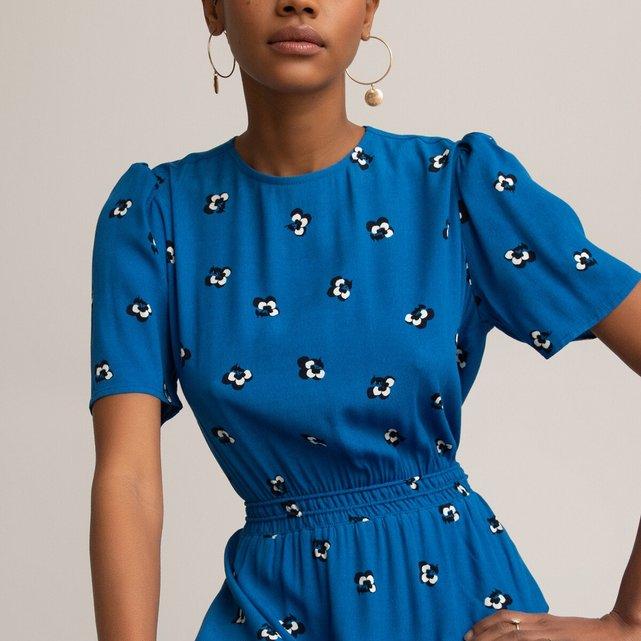 Κοντομάνικο φόρεμα με βαθιά πλάτη