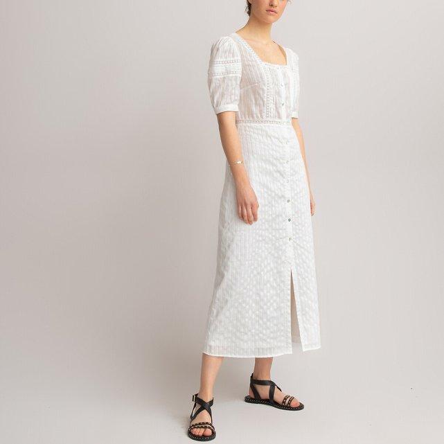 Μακρύ φόρεμα με σιρίτι από δαντέλα