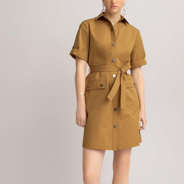 Βαμβακερό σεμιζιέ φόρεμα με ζώνη