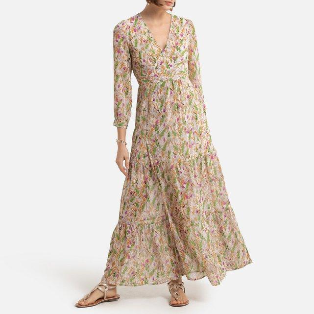 Μακρύ εμπριμέ φόρεμα με V