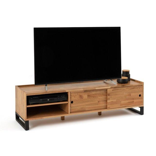 Έπιπλο τηλεόρασης από μασίφ ξύλο δρυ και μέταλλο, Hiba