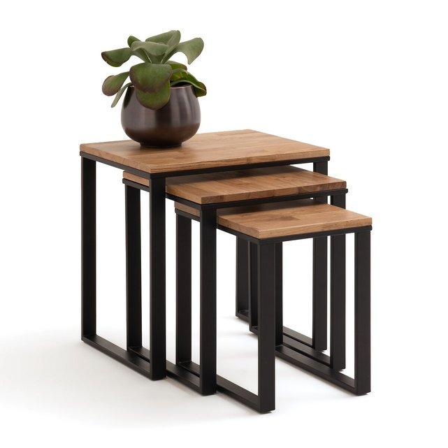 Σετ 3 τραπεζάκια ζιγκόν από μασίφ ξύλο δρυ και μέταλλο, Hiba