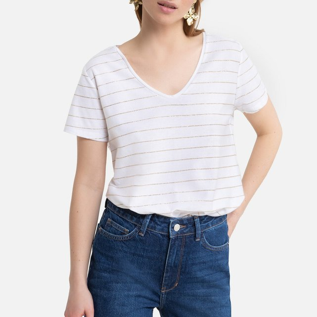 Κοντομάνικη ριγέ μπλούζα με V