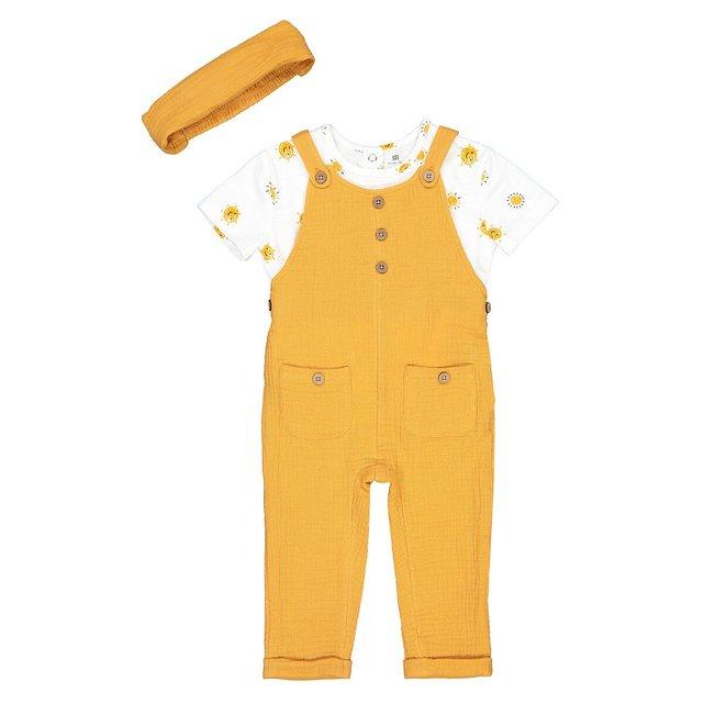 Σύνολο κοντομάνικη μπλούζα, σαλοπέτα και κορδέλα για τα μαλλιά, 1 μηνός - 3 ετών