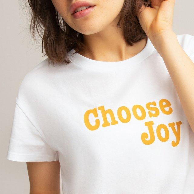 Κοντομάνικο T-shirt με μήνυμα από βιολογικό βαμβάκι, 10-18 ετών