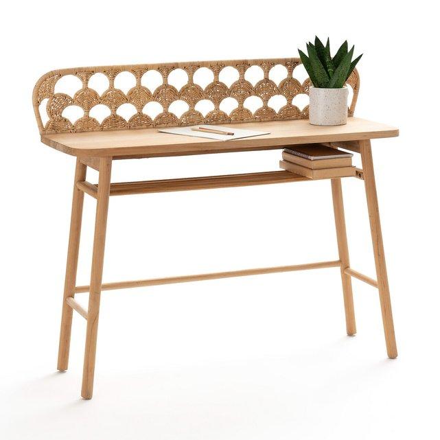 Γραφείο-κονσόλα από ξύλο teak πλεγμένο ρατάν, Palma