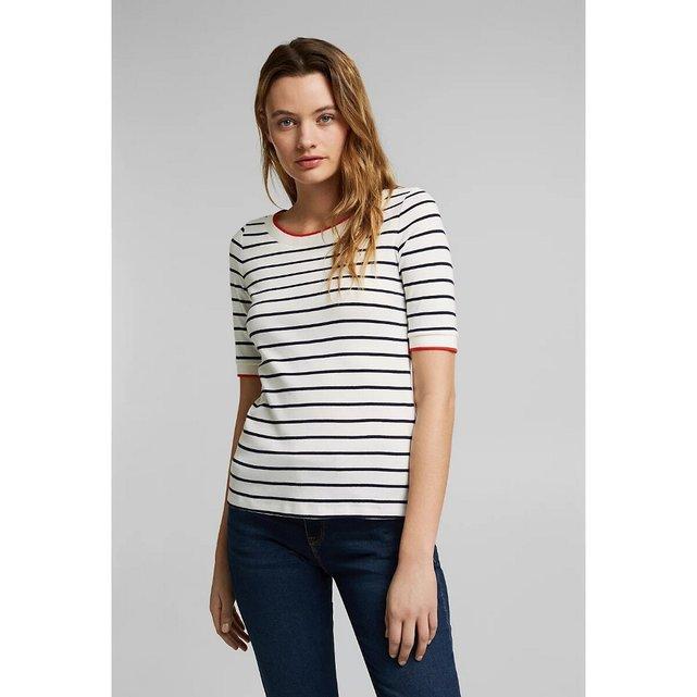 Κοντομάνικη μπλούζα με στρογγυλή λαιμόκοψη και ρίγες