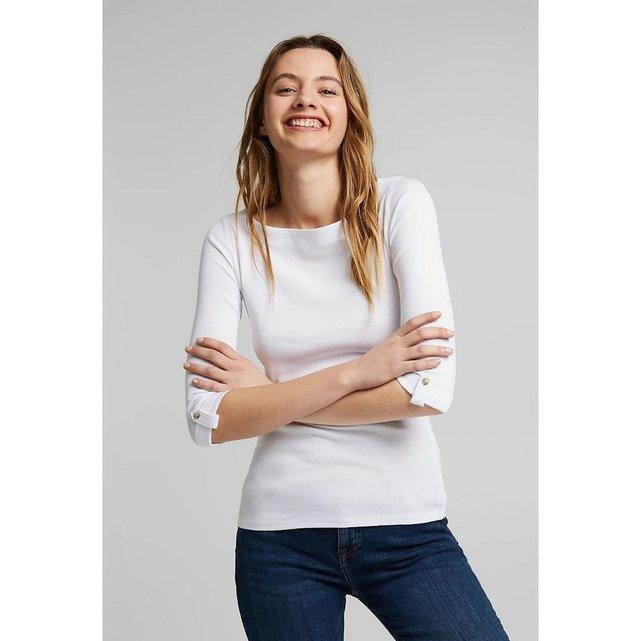 Μπλούζα με λαιμόκοψη χαμόγελο και μανίκια 3 4