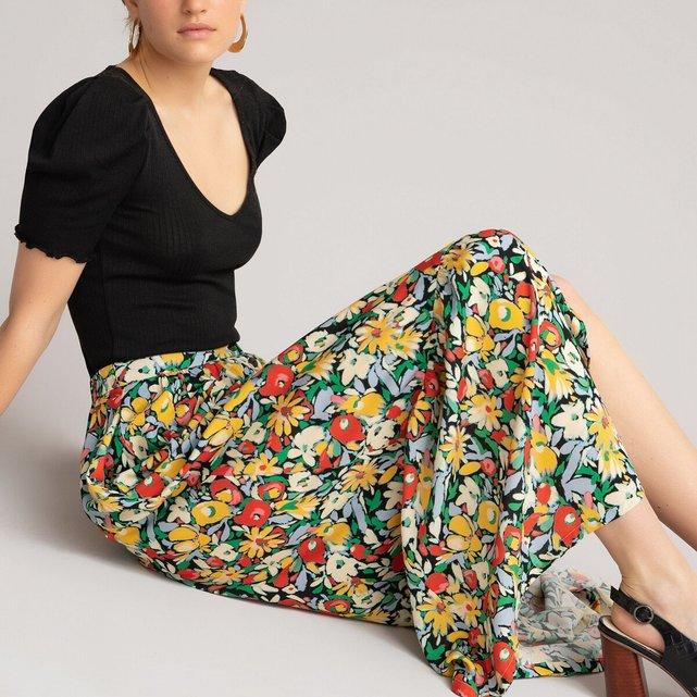 Μακριά φλοράλ φούστα με βολάν