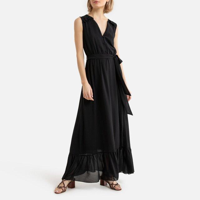 Μακρύ φόρεμα με κουμπιά, βολάν και ζώνη