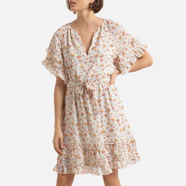 Κοντό φόρεμα με V και κοντά μανίκια
