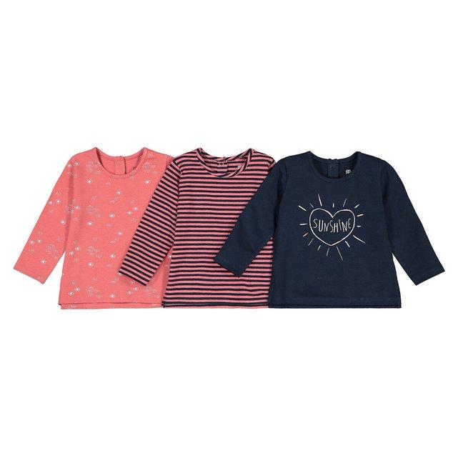 Σετ 3 κοντομάνικα T-shirt από βιολογικό βαμβάκι, 3 μηνών - 4 ετών