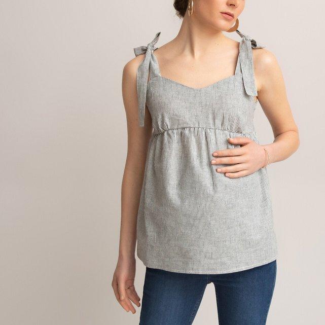 Αμάνικη ριγέ μπλούζα εγκυμοσύνης