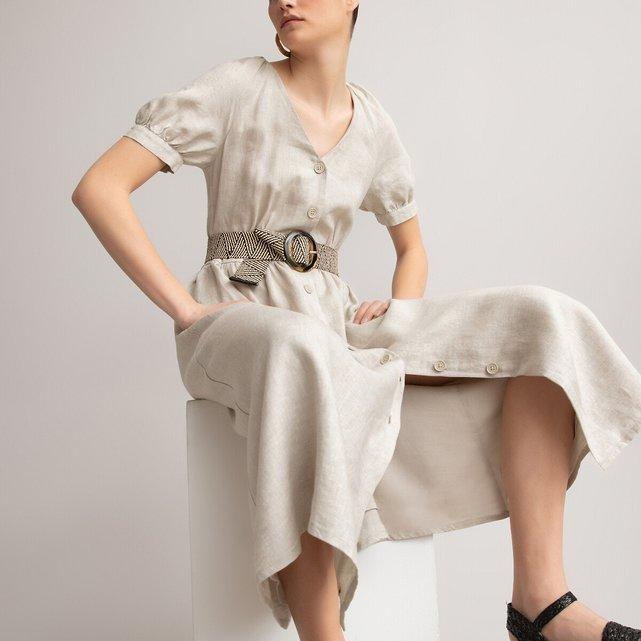 Μακρύ λινό φόρεμα με κουμπιά και ζώνη