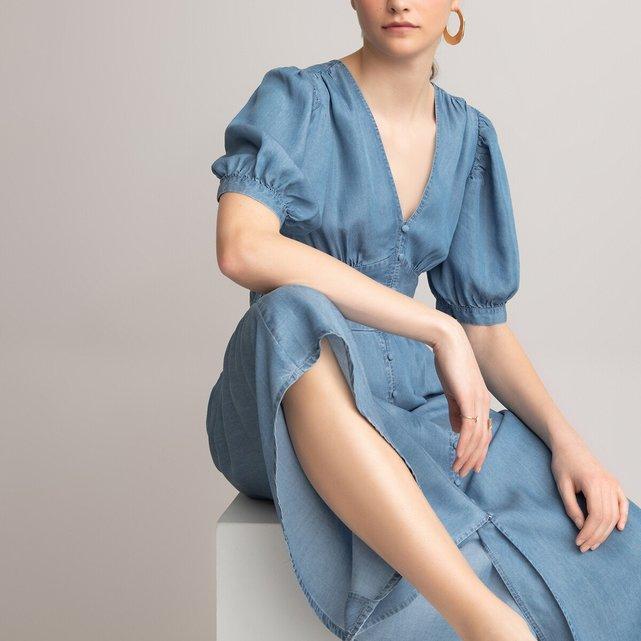 Μακρύ κοντομάνικο φόρεμα με V λαιμόκοψη