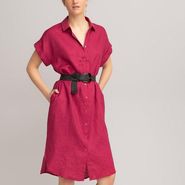 Κοντομάνικο σεμιζιέ φόρεμα από λινό