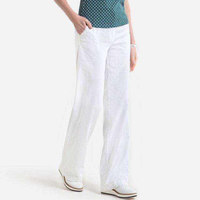 Φαρδύ παντελόνι από λινό και βαμβάκι