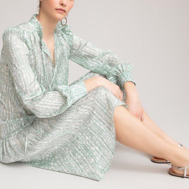 Μακρυμάνικο φόρεμα με βολάν και εμπριμέ μοτίβο
