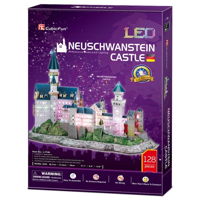 Neuschwanstein Castle (With Led Light Inside) Require 2Xaa Batteries (Not Included)