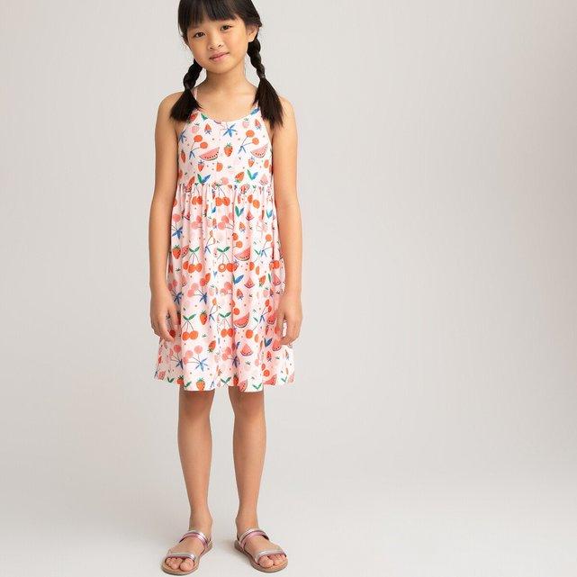 Εμπριμέ χυτό φόρεμα με λεπτές τιράντες, 3-12 ετών