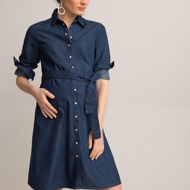 Σεμιζιέ φόρεμα εγκυμοσύνης από ελαφρύ ντένιμ
