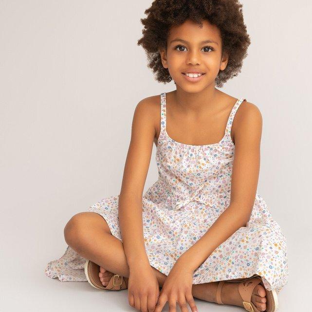 Φλοράλ φόρεμα με λεπτές τιράντες, 3-12 ετών