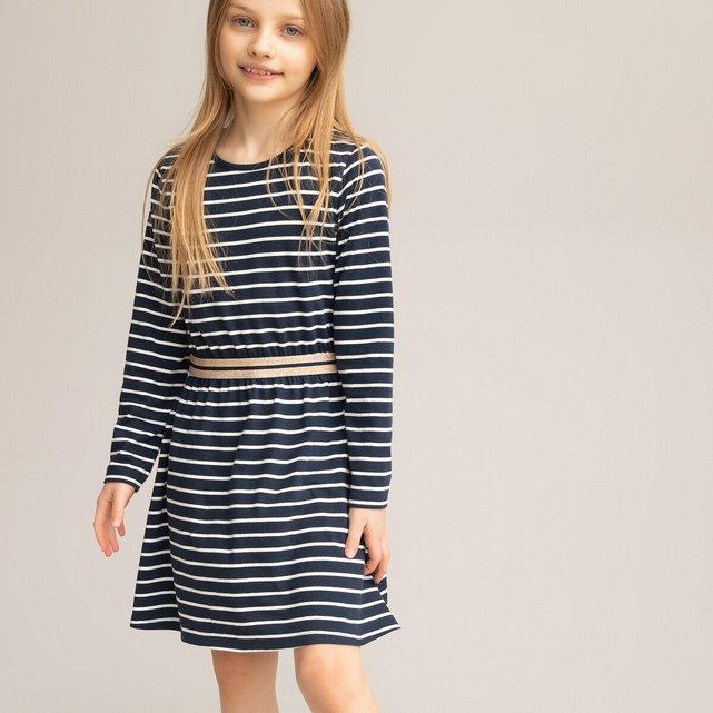 Ριγέ μακρυμάνικο φόρεμα από βιολογικό βαμβάκι, 3-12 ετών