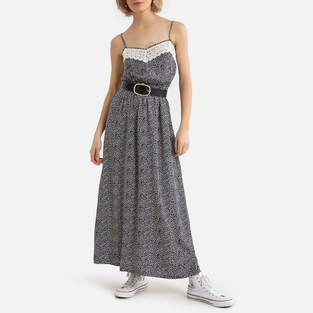 Μακρύ φόρεμα με τιράντες, μοτίβα και δαντέλα