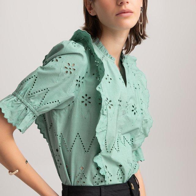 Κοντομάνικο πουκάμισο με κοφτό κέντημα