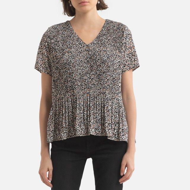 Κοντομάνικη εμπριμέ μπλούζα με V