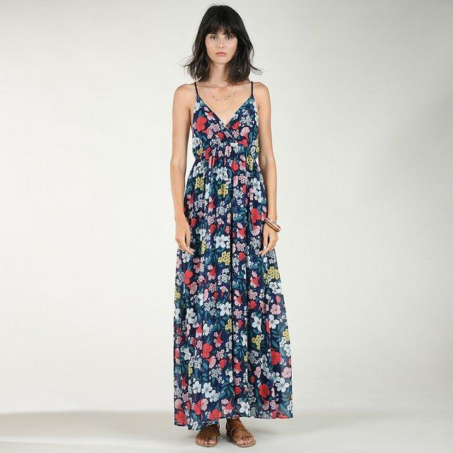 Φλοράλ φόρεμα με V και πλεγμένες τιράντες