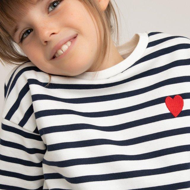 Ριγέ φούτερ με στρογγυλή λαιμόκοψη, 3-12 ετών
