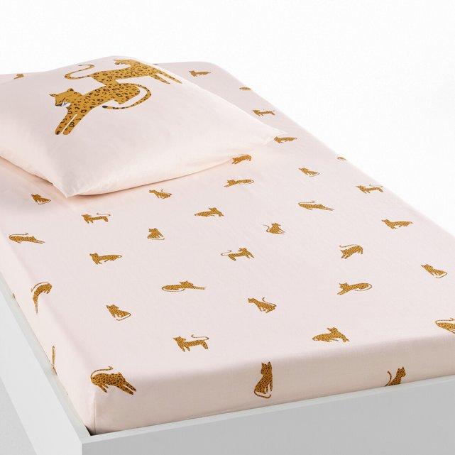 Σεντόνι με λάστιχο από οργανικό βαμβάκι, Leopard