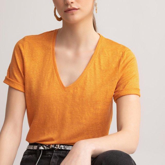 Κοντομάνικη λινή μπλούζα με V