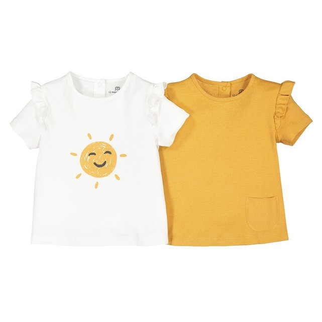 Σετ 2 κοντομάνικες μπλούζες από βιολογικό με βολάν, 1 μηνός - 2 ετών