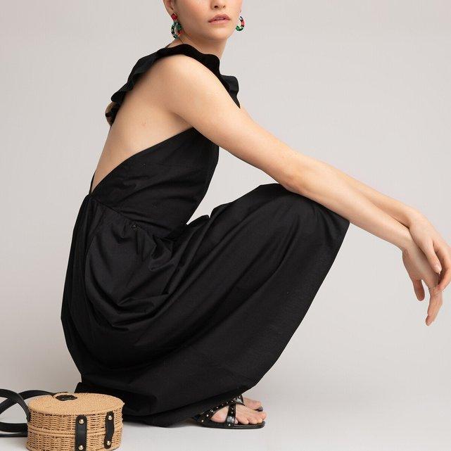 Μακρύ φόρεμα με τιράντες και βολάν