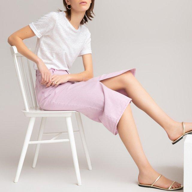 Μίντι ίσια φούστα από βιολογικό βαμβάκι