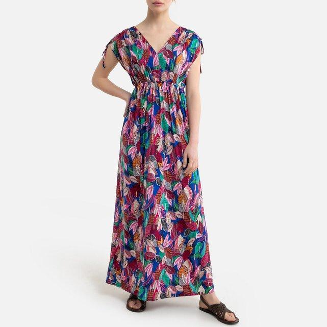 Μακρύ κοντομάνικο φόρεμα με φλοράλ μοτίβο