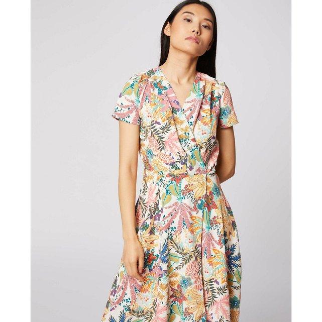 Μίντι φλοράλ φόρεμα με V και ασύμμετρη βάση