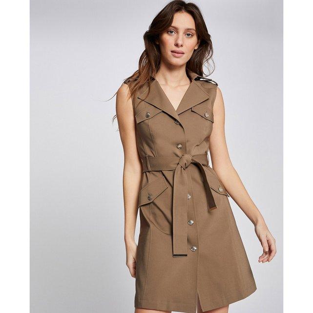 Φόρεμα με κουμπιά, πέτο γιακά και δετή ζώνη
