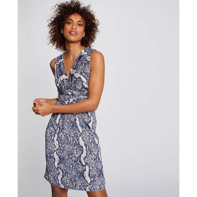 Αμάνικο εφαρμοστό φόρεμα με snake print