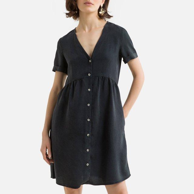 Κοντό εβαζέ φόρεμα με V