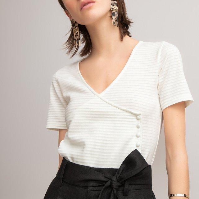 Κοντομάνικη κρουαζέ μπλούζα