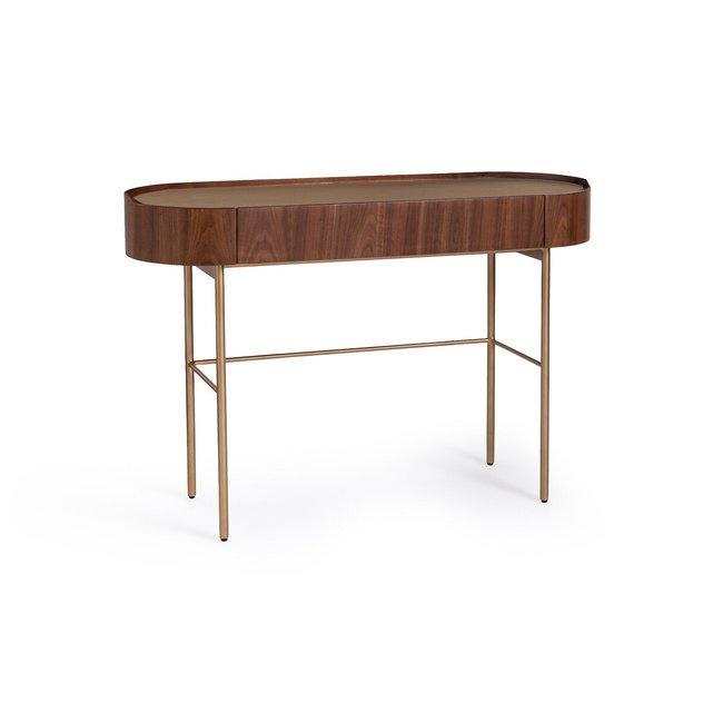 Γραφείο-κονσόλα από ξύλο καρυδιάς και δέρμα, Aslen