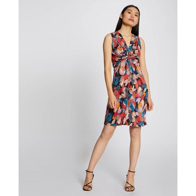 Αμάνικο φόρεμα με V και μοτίβο φύλλα