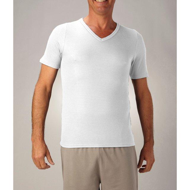 Κοντομάνικη μπλούζα διπλής όψης με V λαιμόκοψη