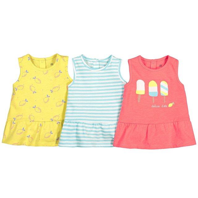Σετ 3 αμάνικα μπλουζάκια από οργανικό βαμβάκι, 3 μηνών - 4 ετών