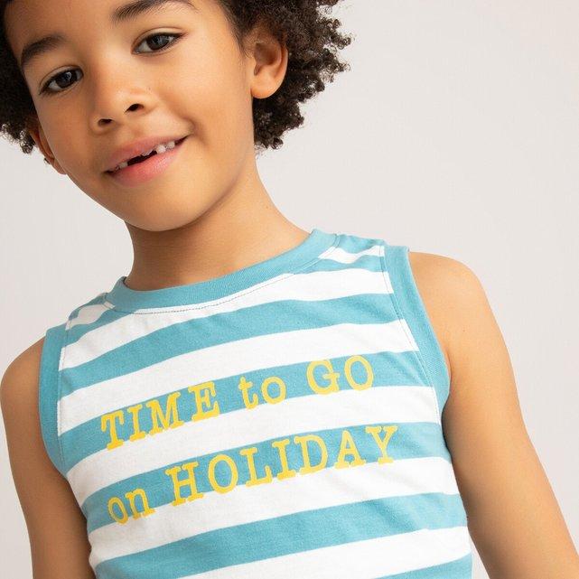 Αμάνικη ριγέ μπλούζα από οργανικό βαμβάκι, 3-12 ετών