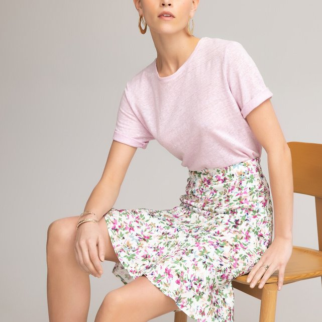 Κοντή φλοράλ φούστα με βολάν
