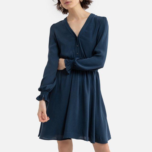 Κοντό φόρεμα με V και μακριά μανίκια